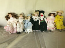 Group Lot of 7 Porcelain Female & Male 8 inch Dolls