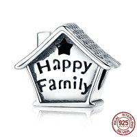 "2018 Christmas 925 Sterling ""Happy Family"" Home Charm Beads fit Original Bangles"