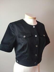 CARLISLE BLACK STRETCH COTTON CROPPED JACKET sizes 2 4 10 12 14 NWT $475