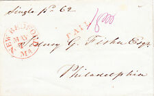 """Stampless Cover (pre-phil.):1844-49 red """"NEW BEDFORD, Ms"""" (high s) c. 30, """"PAID"""""""