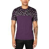 INC Mens T-Shirt Grape Purple Size Large L Foil Leopard Graphic Tee $29 499