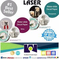"COMBO LASER Waterslide Decal 5 Sheets Each CLEAR & WHITE Paper, 8.5""x11"" A+"