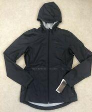 NEW Women Adidas Reflective Waterproof Hooded Az Rain Jacket Sz Medium Ash Black