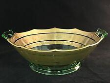 ANTIQUE GOLD GILT VASELINE Depression ERA GLASS Bowl Dish ART DECO STYLE