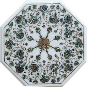 Marble Coffee Table Top Inlay Floral Art Bed Side Table with Gemstones 15 Inches