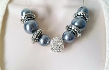 "Gorgeous 18"" long silver tone, shiny grey pearl & diamante bead chain necklace"