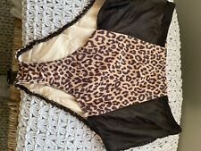 American Apparel High Waist Bikini Bottom Brief Leopard Cheetah Black Mesh L