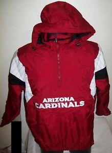 ARIZONA CARDINALS Starter Hooded NFL 100 YEAR ANN. Half Zip Pullover Jacket RED