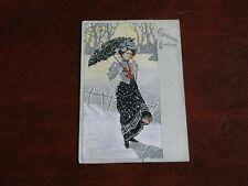 ORIGINAL ART NOUVEAU TUCK GLAMOUR POSTCARD - LADY WITH PARASOL, SNOW, No. 8145.