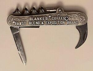 1900s Faust Blanke's Coffee St Louis MO Bartenders Knife Corkscrew P-26