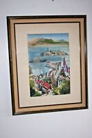 "Patricia Moloney Large Wood Framed Signed Watercolor San Francisco ""Alcatraz"""