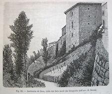 stampa antica ALESSANDRIA SERRALUNGA DI CREA SANTUARIO VISTO DA NORD  1891