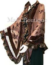 Chocolate Shawl Scarf Wrap Silk Burnout Velvet Triangle Ruffles Maya Matazaro