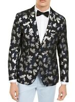 INC Mens Blazer Blue Black Size XL Floral Metallic Jacquard Slim Fit $149 231