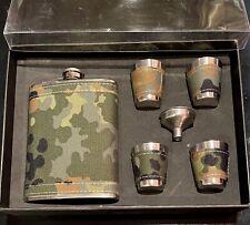 Gift Flask Set #26645 Camouflage Flask, 4 shot glasses, funnel