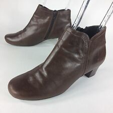 Ecco Brown Leather Zipper Ankle Boot Shoes Womens 7 - 7.5 US / EUR 38