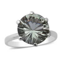 Platinum Over 925 Sterling Silver Prasiolite Solitaire Ring Gift Size 7 Ct 5.7