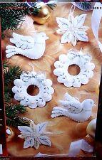 "Bucilla ""WHITE CHRISTMAS"" Felt Ornaments Kit Mint Sterilized Gorgeous NIP 85319"