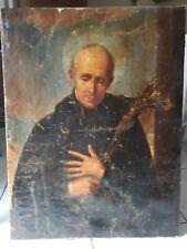 Quadro Dipinto antico olio su tela del 700 - Santo con Crocifisso - 94x71 cm