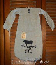 Primitive Decor COW WEATHERVANE NIGHTSHIRT Grungy,Cupboard Hanger,Prim,Country