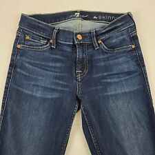 7 Seven For All Mankind Womens The Skinny Blue Jeans Size 26 Dark Wash
