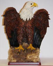 Large American Bald Eagle Standing on Wppden Base Figurine