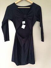 Pequeño vestido negro por Temptations London Talla S-m Con Corte Frontal Nuevo