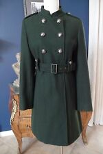GUESS Olive Belted Military Wool Blend Coat Jacket L