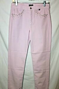 WOMENS SOFT PINK GOLFINO AG TAPERED GOLF PANTS W/ SHIMMER SIZE 6