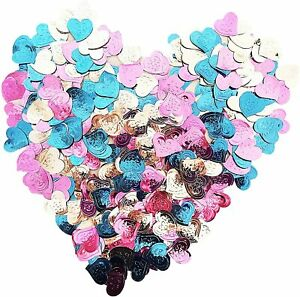 Pink & Teal Heart Confetti, Bridal Shower Decor Table Scatter Ms Quince 1oz Bag