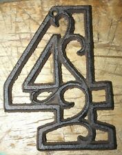 Rustic BROWN Cast Iron Metal House Number Street Address 4 1/2 INCH Phone # 4
