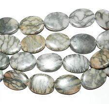 """NG1864 Grey Canyon Marble Natural Gemstone 25x19-30x22mm Puff Flat Oval Bead 15"""""""