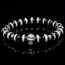 8mm natural black tibetan agate beads energy stone stretchy skull bracelet br116
