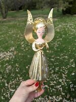Vintage Italian De Carlini (Italy) Blown Glass Gold Angel Christmas Tree Topper