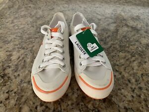 Lacoste White And Orange Gator Shoes Womens Size 8 Laces- New With Tags