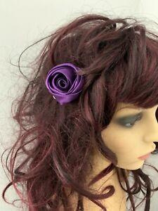 Purple Rose   Rose Hair Clip   Satin Clip   Wedding Hair Clip   Bride/Bridesmaid