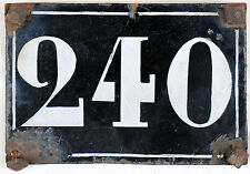 Large old black French house number 240 door gate plate plaque enamel metal sign
