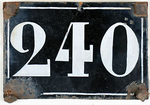 Large old black French house number 240 door gate plate plaque enamel metal sign