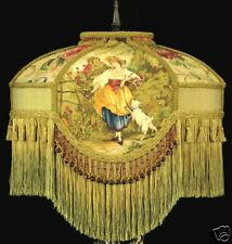 VICTORIAN LAMP SHADE FRAGONARD FABRIC GOLD SILK beads