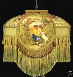 VICTORIAN LAMP SHADE FRAGONARD ROCCOCO ROMANTIC COUPLE FABRIC BEADS BEAUTIFUL!!!