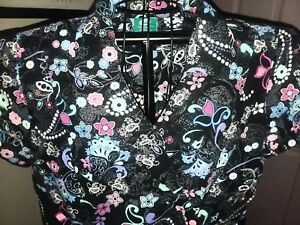 Crayola Threads by Barco Scrub Top Colorful Print on Black 100% Cotton Women S L