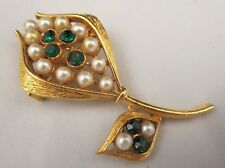 Vintage Emerald Green Rhinestone Faux Pearl Flower Brooch Pin Brushed Gold Tone