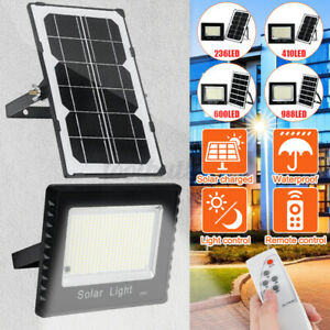 1000W 988 LED Solar Flood Light Garden Street Wall Lamp Light Control+Remo