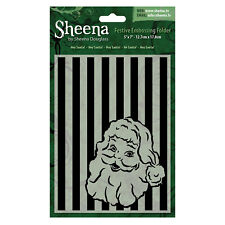"SALE New Sheena Douglass Christmas Embossing Folder 5x7""  Hey Santa"