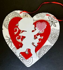"Valentine wood plaque, 9"" heart with more hearts and cupid, red, black and white"