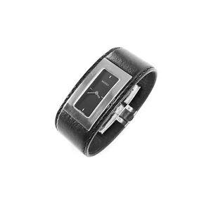 Gucci XS Black Leather Stainless Steel Cuff Watch