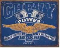 "Chevrolet Chevy Power American Pride Rustic Retro Tin Metal Sign 16"" x 12.5"""