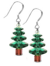 STERLING SILVER 925 & SWAROVSKI CRYSTAL EARRING KIT, EMERALD CHRISTMAS TREE