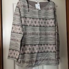 Lovely New H&M Ladies Top, Beige/Brown/Pink Geometric, size XL
