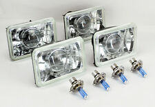 """FOUR 4x6"""" Halogen Semi Sealed H4 Clear Projector Headlights Conversion Chevy"""